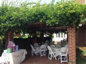 Outdoor tables at Hollin Hall